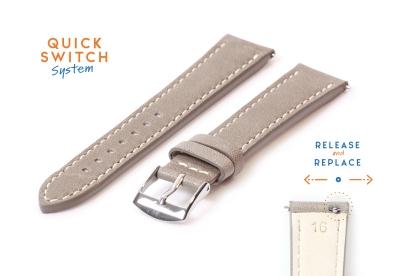 Horlogeband 16mm grijs leer