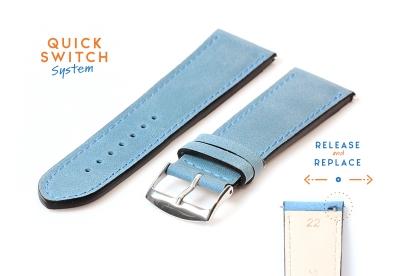 Horlogeband 22mm kalfsleer ijsblauw