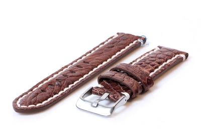 Horlogeband van echt krokodillenleer - 24mm bruin
