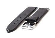Horlogeband 24mm vintage zwart leer