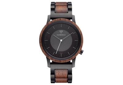 Kerbholz Fred horlogeband - Walnut Black Steel Solar