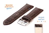Horlogeband 24mm croco leer grijs