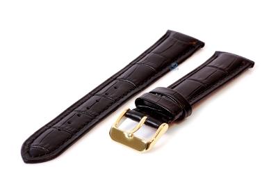 Horlogeband 16mm croco leer zwart