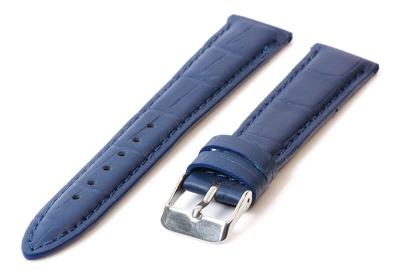 Horlogeband 16mm blauw leer croco