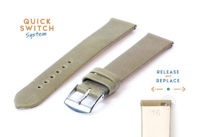 Horlogeband 16mm kaki groen leer