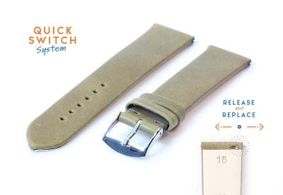 Horlogeband 18mm kaki groen leer