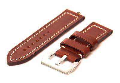 24mm horlogeband bruin - stevig leer