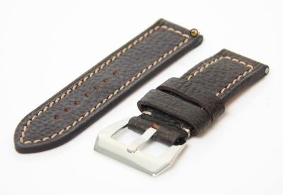 24mm horlogeband donkerbruin - stevig leer