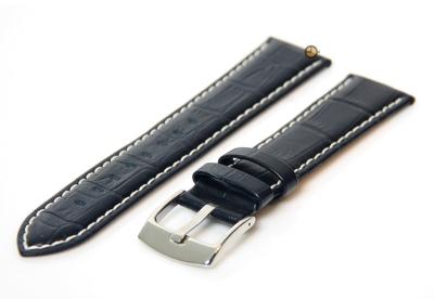24mm horlogeband van leer - midnight blue