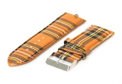 Horlogeband 28mm bruin/geel
