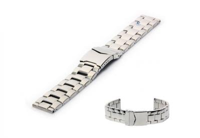Horlogeband 24mm gepolijst staal zilver