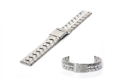 Horlogeband 20mm deels gepolijst staal zilver