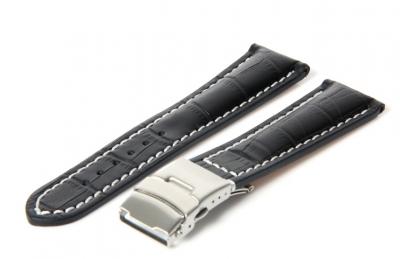 Gisoni Horlogeband 24mm zwart (croc)