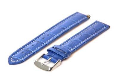 Extralange horlogeband - 18mm blauw leer