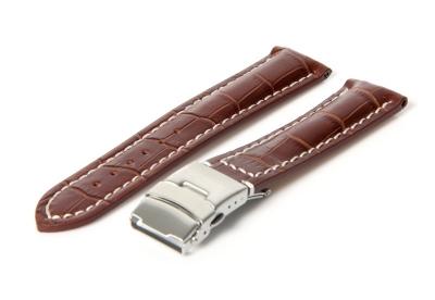 Gisoni Horlogeband 20mm bruin clip