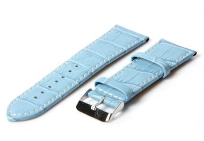 Horlogeband 32mm croco licht blauw