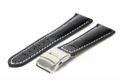 Gisoni Horlogeband 22mm zwart (croc)