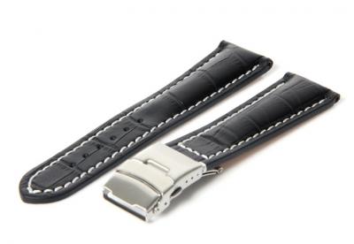 Gisoni Horlogeband 20mm zwart croc