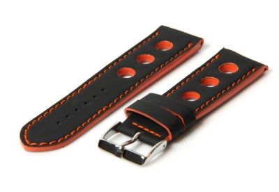 Horlogeband 20mm racing zwart / oranje