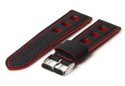 Horlogeband 18mm racing zwart / rood