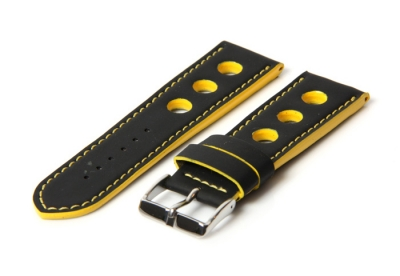 Horlogeband 18mm racing zwart / geel
