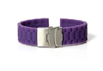 Horlogeband 20mm donker paars rubber