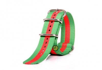 Horlogeband 24mm nylon groen/rood