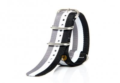 Horlogeband 24mm nylon tricolore