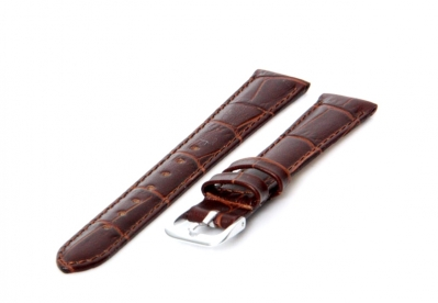 Horlogeband 16mm bruin croco leer