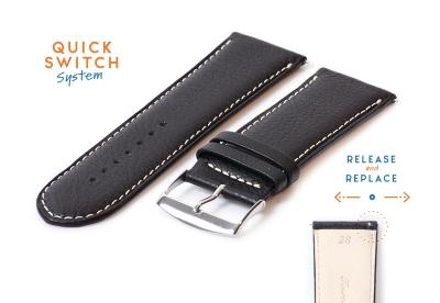 Horlogeband 28mm kalfsleer zwart