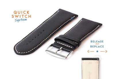 Horlogeband 30mm kalfsleer zwart