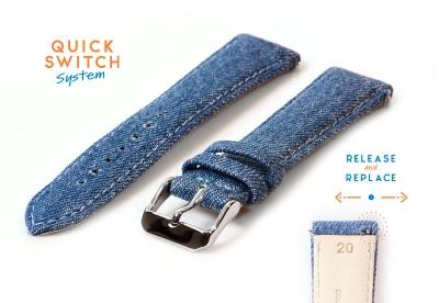 Horlogeband 20mm denim