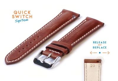 Horlogeband 20mm bruin stierenleer