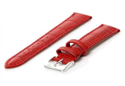 Horlogeband leer 16mm rood