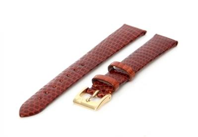 Horlogeband 14mm bruin hagedissenleer XL