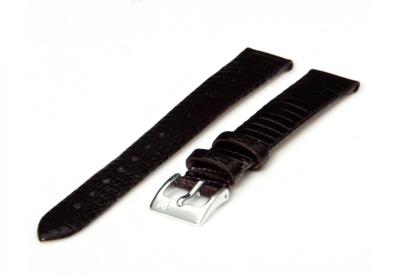Horlogeband 12mm Donkerbruin hagedissenleer XL