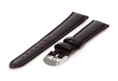 Horlogeband 15mm donkerbruin kalfsleer