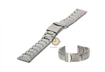 Horlogeband 18mm deels gepolijst staal zilver
