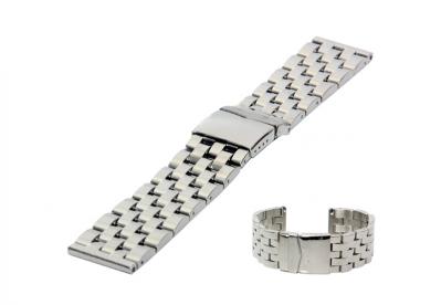 Horlogeband 24mm staal glans