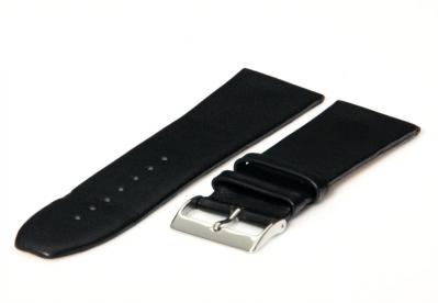Horlogeband 28mm zwart leer naadloos