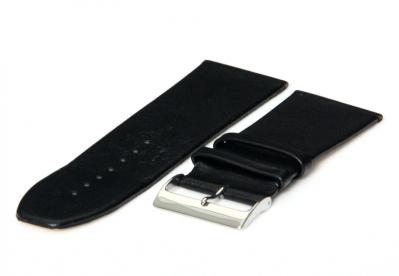Horlogeband 30mm zwart leer naadloos
