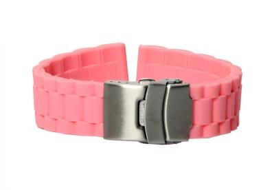 Horlogeband 22mm roze rubber