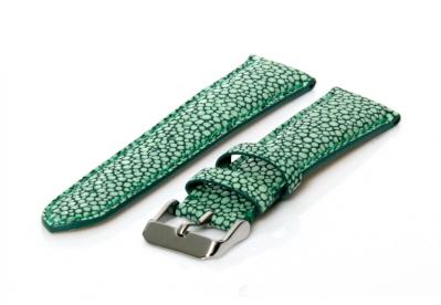 Horlogeband met roggenprint - 22mm groen leer