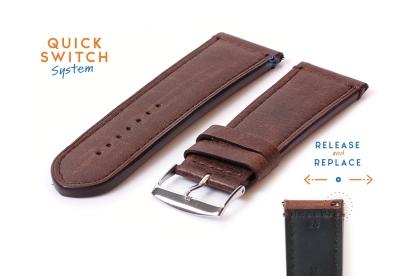 Horlogeband 28mm bruin kalfsleer