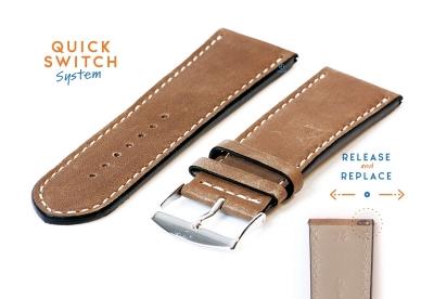 Horlogeband 26mm kalfsleer bruin