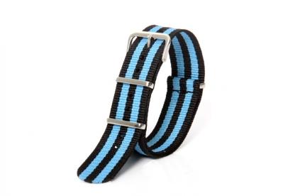 Horlogeband 20mm nylon blauw/zwart
