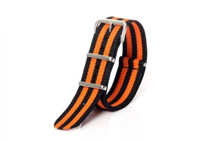 Horlogeband 20mm nylon oranje/zwart