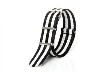 Horlogeband 22mm nylon wit/zwart