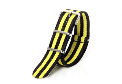 Horlogeband 22mm nylon geel/zwart