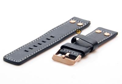 Oozoo horlogeband 22mm zwart leer